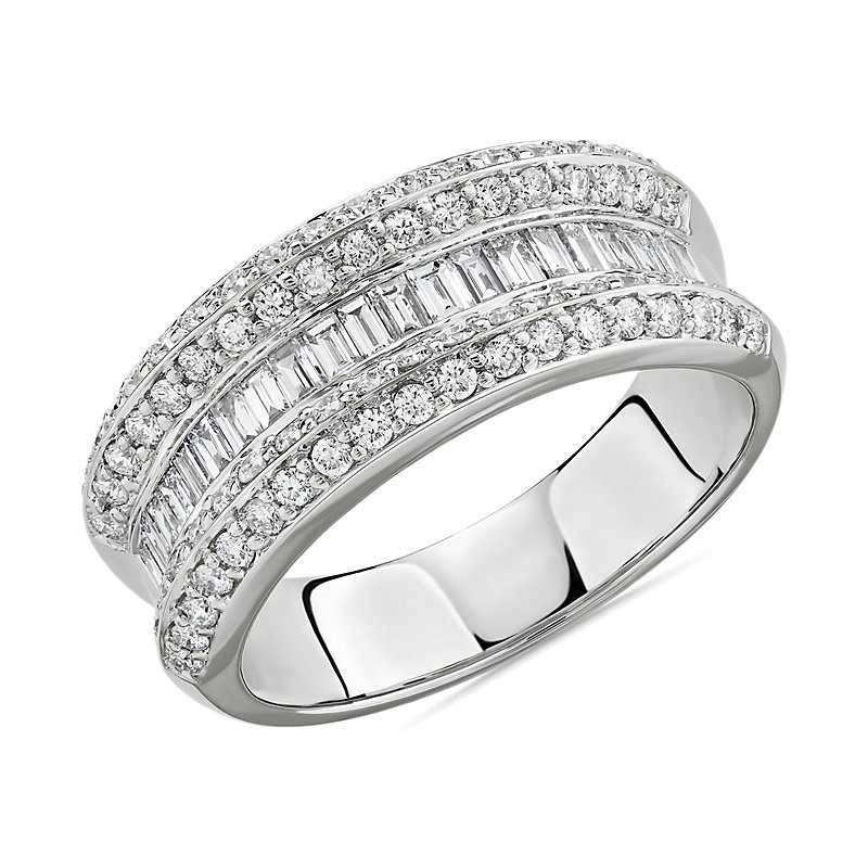 Graduated Baguette and Round Diamond Ring in 14k White Gold 1 ct.