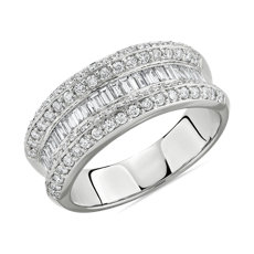 NEW Graduated Baguette and Round Diamond Ring in 14k White Gold 1 ct. tw.)