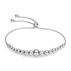 Graduated Bead Bolo Bracelet in Sterling Silver