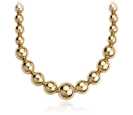 Graduated Bead Necklace in 18k Yellow Gold