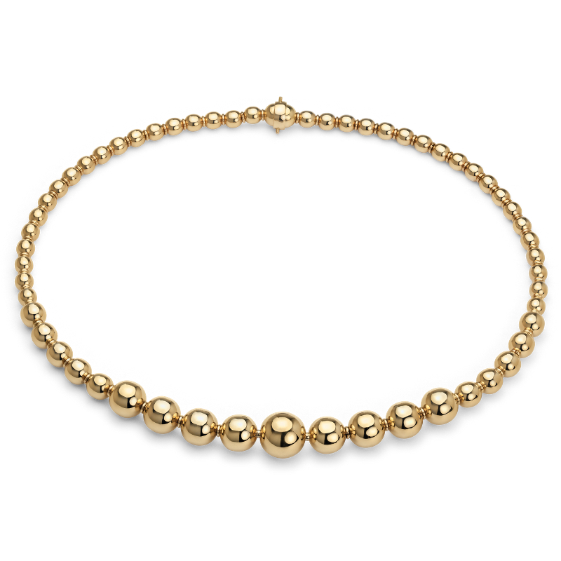 Graduated Bead Necklace in 18k Italian Yellow Gold
