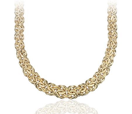 Collar bizantino degradado en oro amarillo de 18k