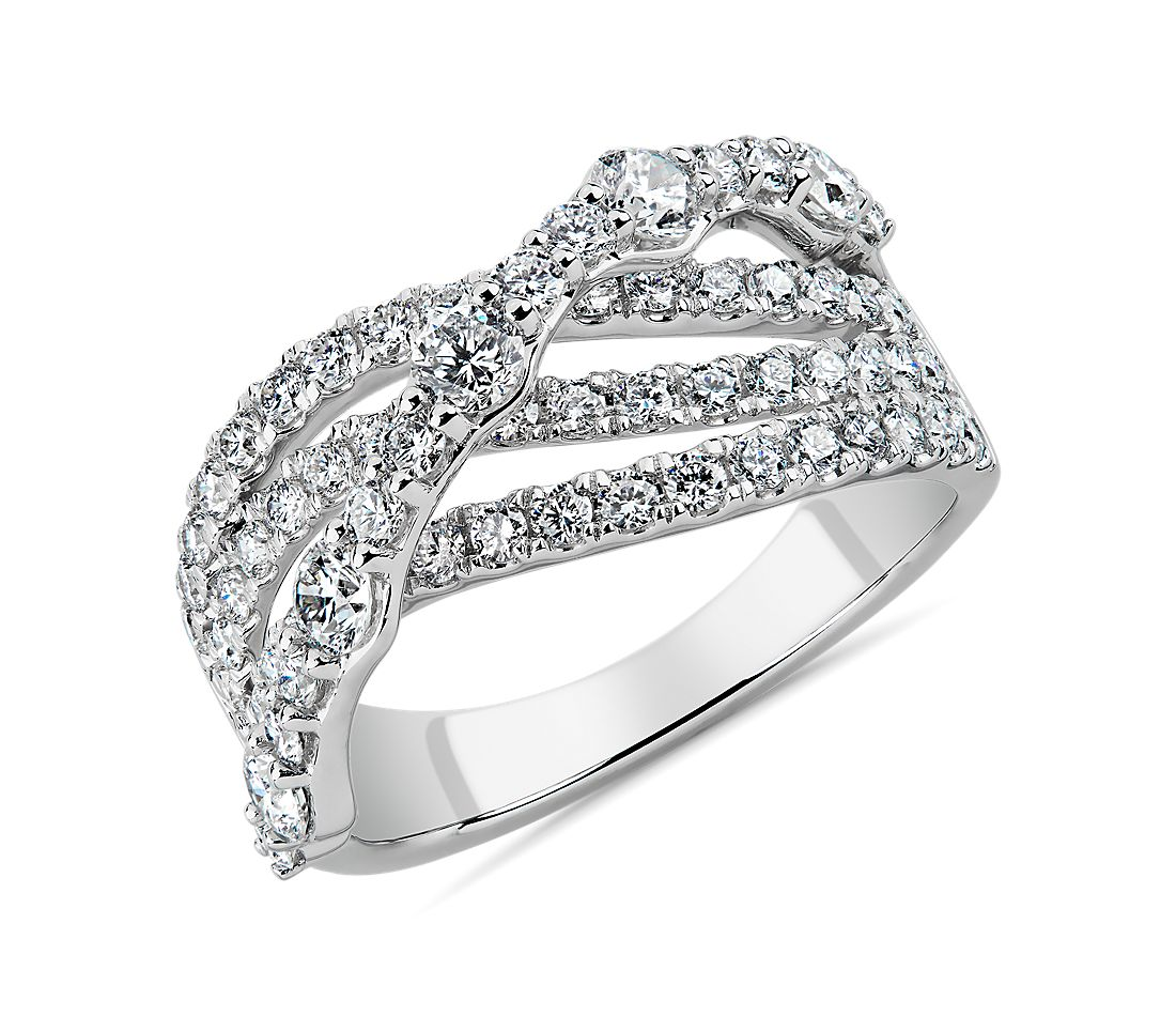 Graduated Crossover Diamond Ring in 14k White Gold (1 1/2 ct. tw.)