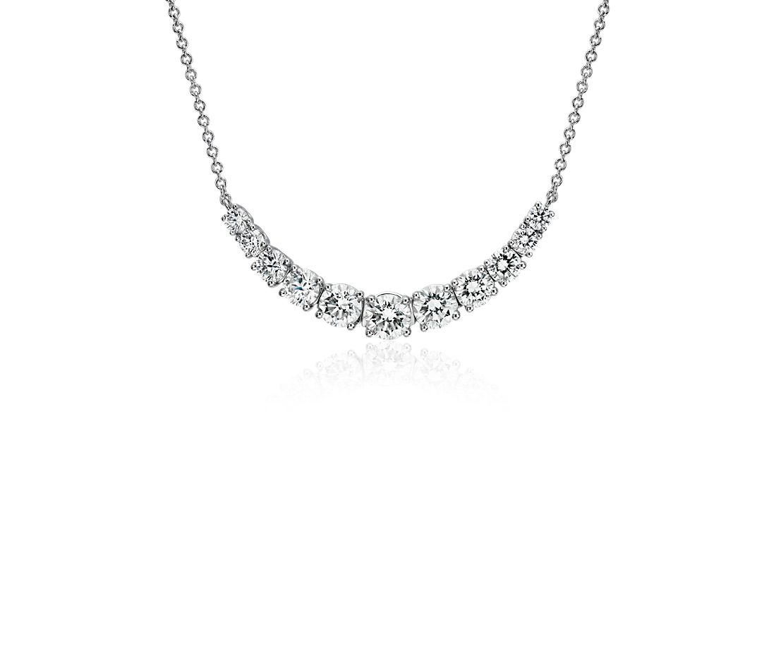 Graduated Diamond Smile Necklace in 14k White Gold