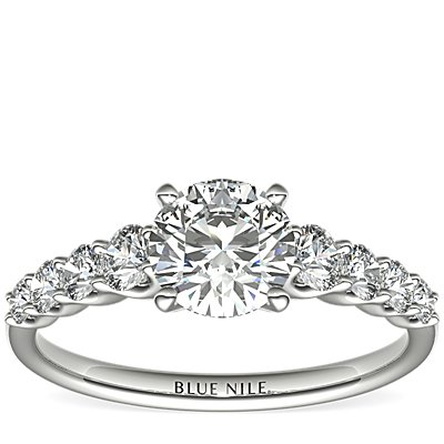 Graduated Side Stone Diamond Engagement Ring in 14k White Gold