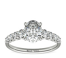 Graduated Side Stone Diamond Engagement Ring in 14k White Gold (0.41 ct. tw.)