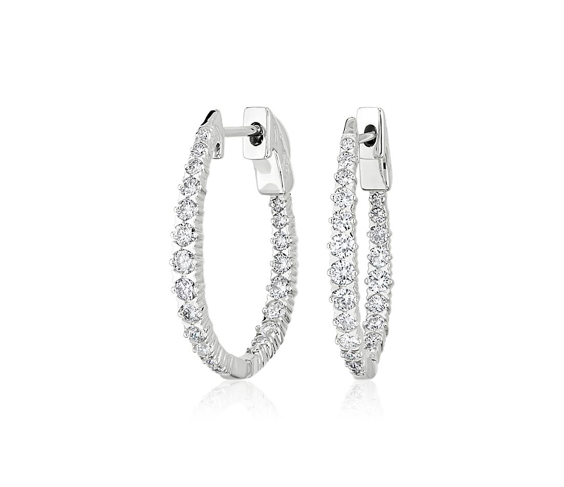 Graduated Diamond Elongated Hoop Earrings in 14k White Gold (1 ct. tw.)