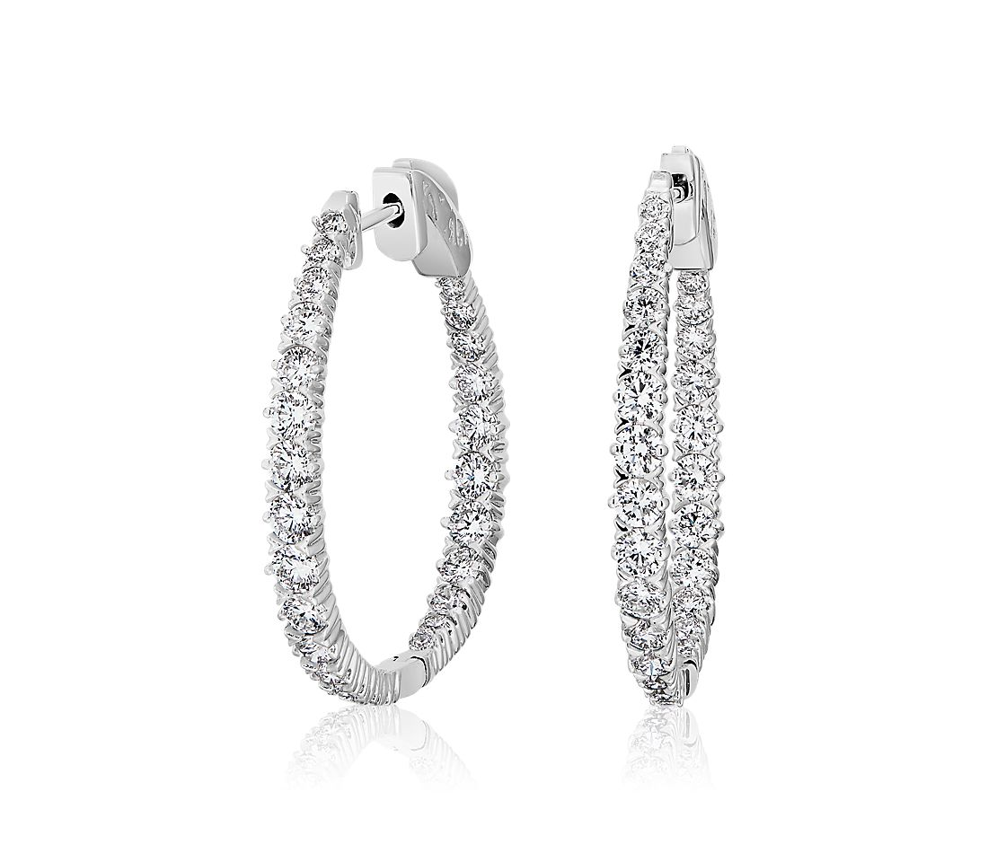 Graduated Diamond Elongated Hoop Earrings in 14k White Gold (2 ct. tw.)