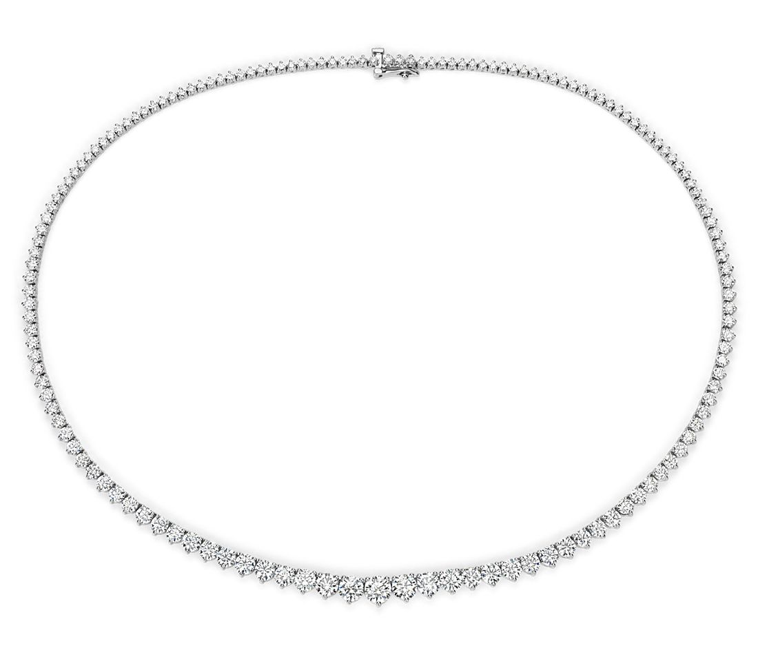 Graduated Diamond Eternity Necklace in 18k White Gold