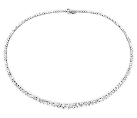 Collier d'éternité en diamants gradués en or blanc 18 carats (15 carats, poids total)
