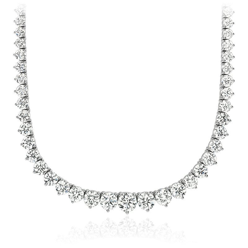 Graduated Diamond Eternity Necklace in 18k White Gold (15 ct. tw.