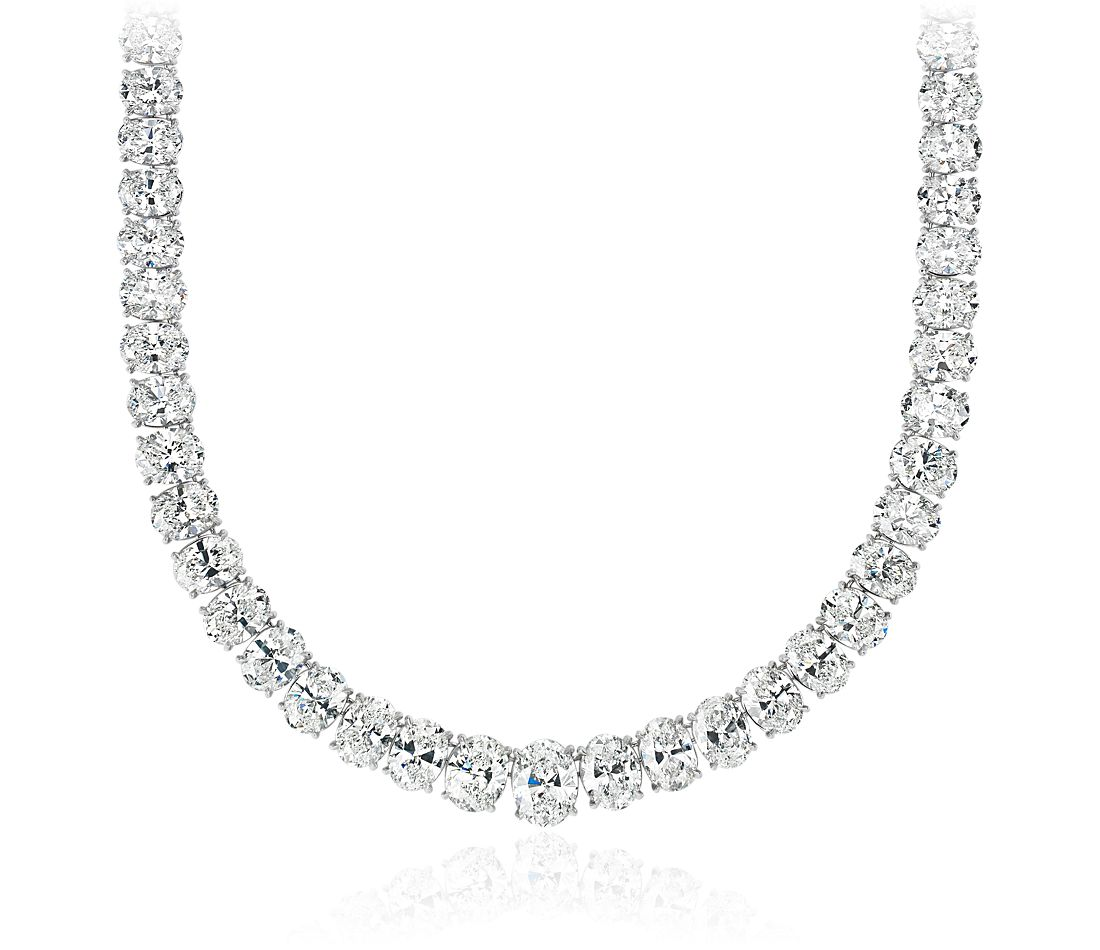Graduated Oval Diamond Eternity Necklace in 18k White Gold (44 ct. tw.)