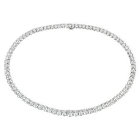 NEW Graduated Oval Diamond Eternity Necklace in 18k White Gold (44 ct. tw.)