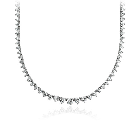 Collier d'éternité en diamants gradués en or blanc 18 carats (7 carats, poids total)