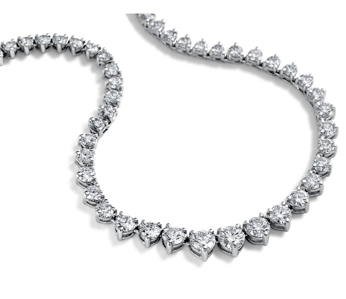 Graduated Diamond Eternity Necklace in 14k White Gold (10 ct. tw.)