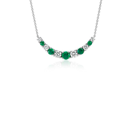 Graduated Emerald and Diamond Smile Necklace in 14k White Gold (1/2 ct. tw.)