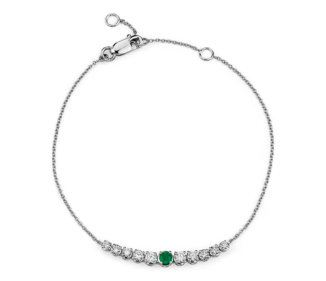 Emerald and Diamond Graduated Curve Bracelet in 14k White Gold (2.9mm)