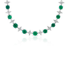 Emerald & Diamond Graduated Eternity Necklace in 18k White Gold (2.4mm)