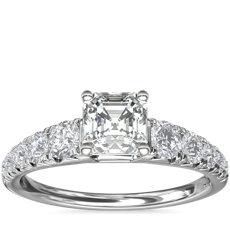 14k 白金大小漸變法式密釘鑽石訂婚戒指(1/2 克拉總重量)