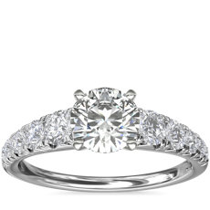 Graduated French Pavé Diamond Engagement Ring in 14k White Gold (1/2 ct. tw.)
