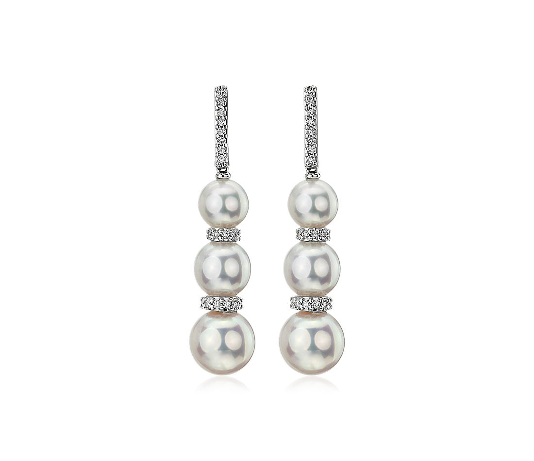Graduated Freshwater Cultured Pearl and Diamond Earrings in 18k White Gold (5.5-8mm)