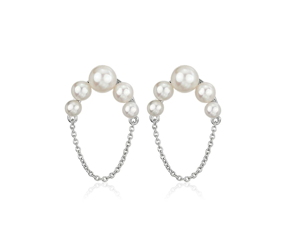 Graduated Freshwater Pearl Stud Earring with Half-Circle Chain in Sterling Silver