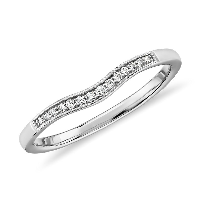 Graduated Milgrain Curved Diamond Band in 14k White Gold (1/10 ct