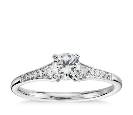 1/3 Carat Preset Graduated Milgrain Diamond Engagement Ring in 14k White Gold