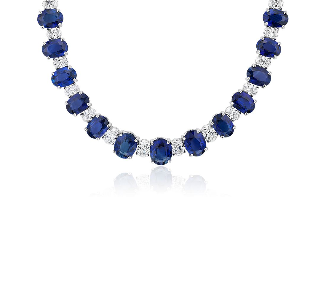 Graduated Oval-Cut Sapphire and Diamond Eternity Necklace in 18k White Gold