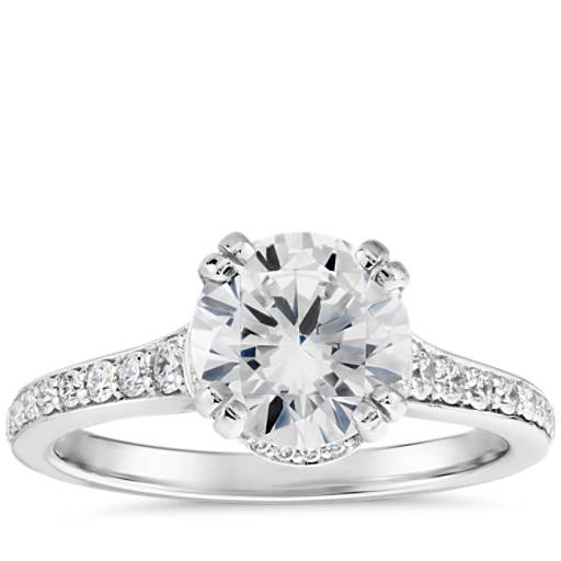 Graduated Double Prong Pav 233 Diamond Engagement Ring In