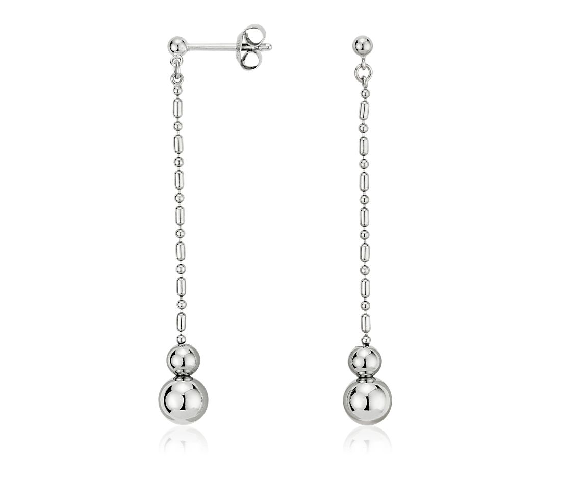 Graduated Bead Drop Earrings in Platinum