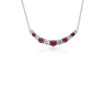 Graduated Ruby and Diamond Smile Necklace in 14k White Gold (1/2 ct. tw.)