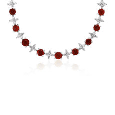 Ruby & Diamond Graduated Eternity Necklace in 18k White Gold (2.4mm)