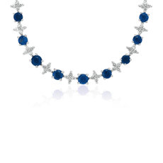Sapphire & Diamond Graduated Eternity Necklace in 18k White Gold (2.4mm)