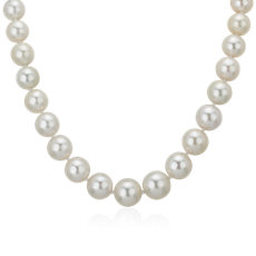 10-12.6mm Graduated South Sea Pearl Strand Necklace with Diamond Clasp