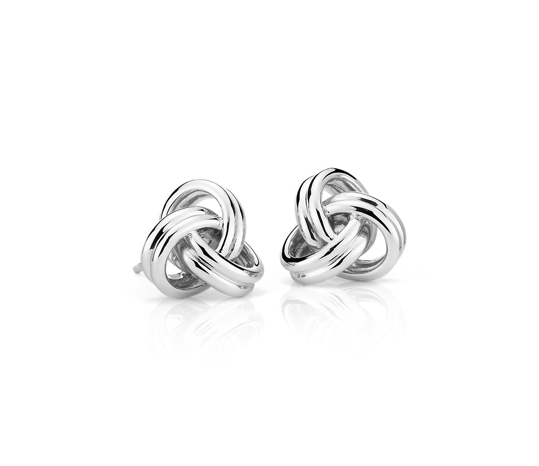 Grande Luxe Love Knot Stud Earrings in Sterling Silver