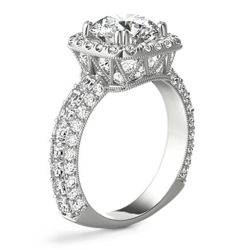 Bella Vaughan for Blue Nile Grandeur Cushion Halo Diamond Engagement Ring