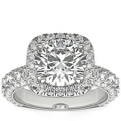 Bella Vaughan for Blue Nile Grandeur Cushion Halo Diamond Engagement Ring in Platinum (2 ct. tw.)