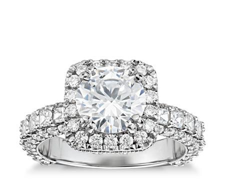 Bella Vaughan for Blue Nile Grandeur Cushion Halo Diamond Engagement Ring in Platinum (2 ct. tw.)