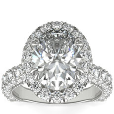 Bella Vaughan  for Blue Nile Grandeur Oval Halo Diamond Engagement Ring in Platinum (2 ct. tw.)