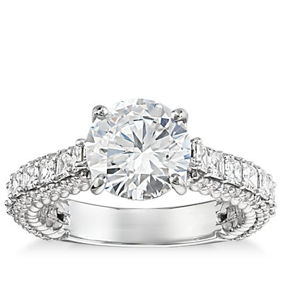 Bella Vaughan for Blue Nile Grandeur Roped Diamond Engagement Ring in Platinum (1.5 ct. tw.)