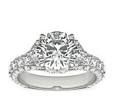 铂金 Blue Nile 的 Bella Vaughan 华丽梯形钻石订婚戒指<br>(2 1/4 克拉总重量)
