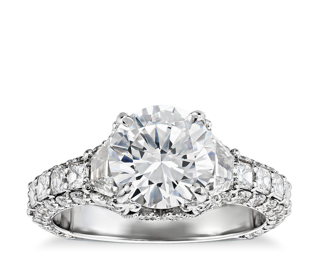 Bella Vaughan for Blue Nile Grandeur Trapezoid Diamond Engagement Ring in Platinum (2 1/4 ct. tw.)
