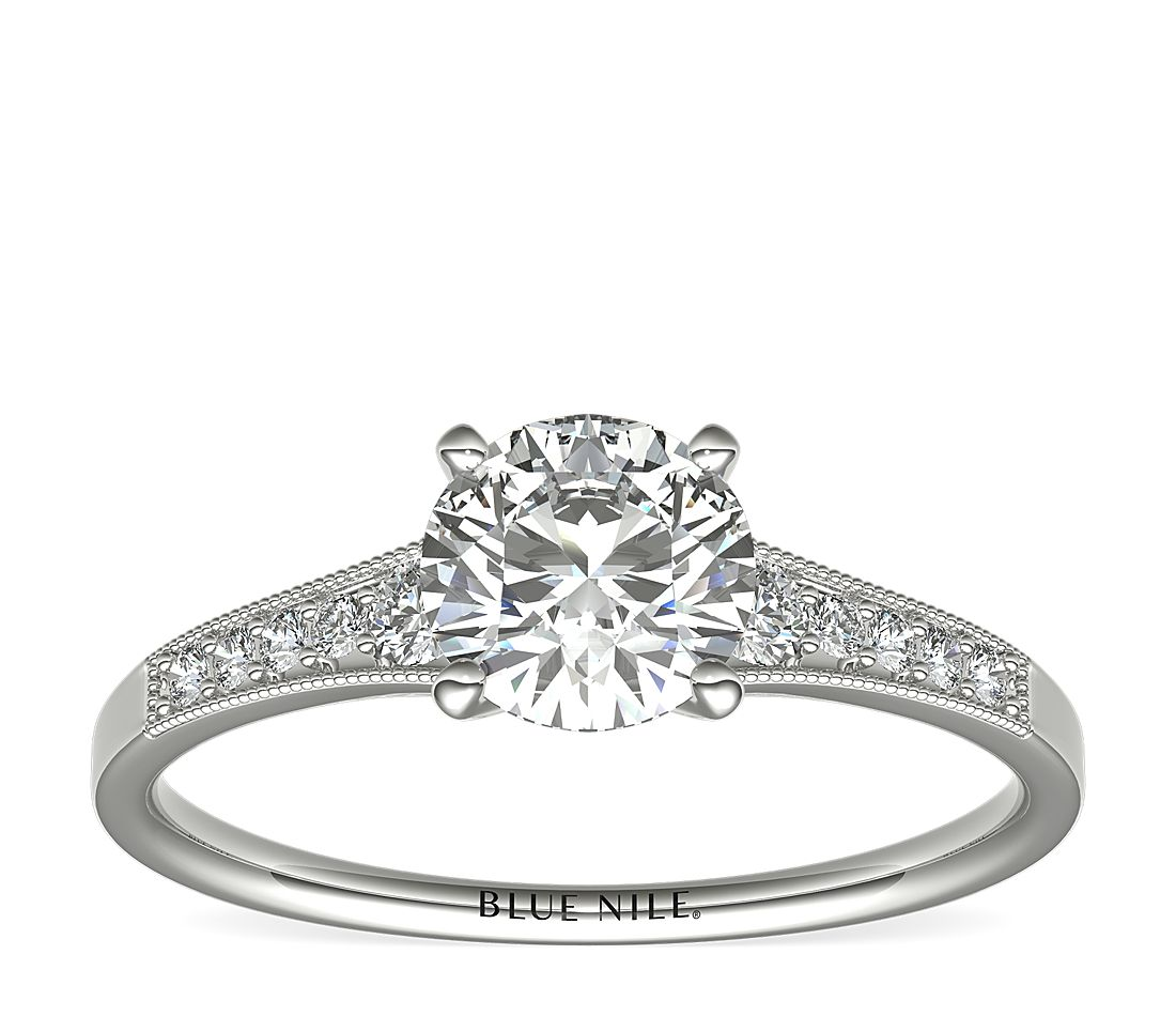 9ac9dfc4a 1 Carat Ready-to-Ship Graduated Milgrain Diamond Engagement Ring in 14k  White Gold | Blue Nile
