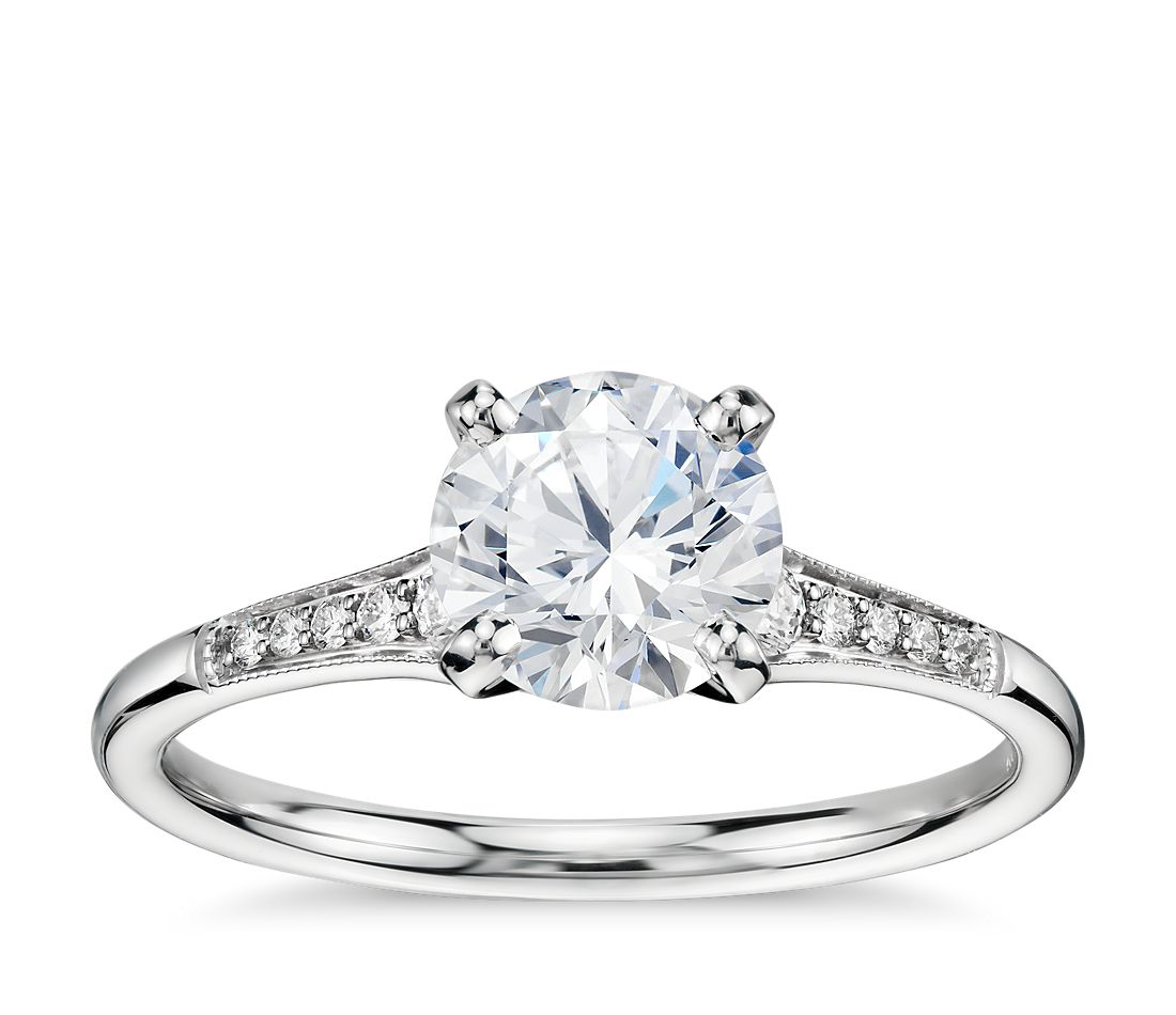 1 Carat Ready-to-Ship Graduated Milgrain Diamond Engagement Ring in 14k White Gold