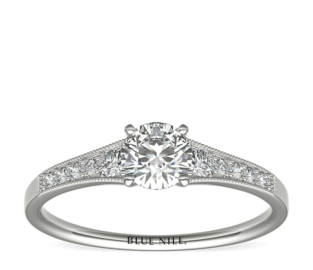 1/2 Carat Ready-to-Ship Graduated Milgrain Diamond Engagement Ring in 14k White Gold