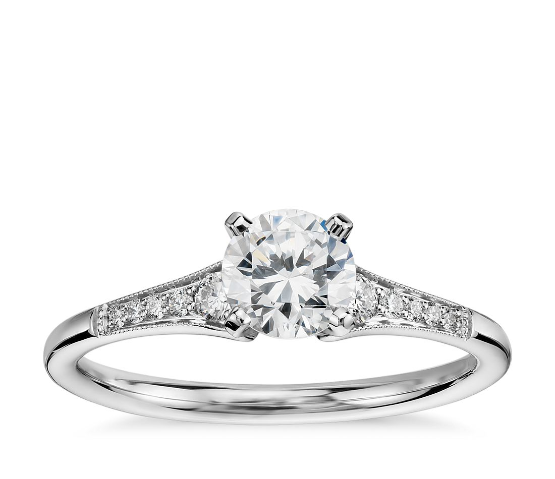 12 carat preset graduated milgrain diamond engagement ring in 14k white gold - Interlocking Wedding Rings