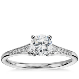 1/2 Carat Preset Graduated Milgrain Diamond Engagement Ring in 14k White Gold