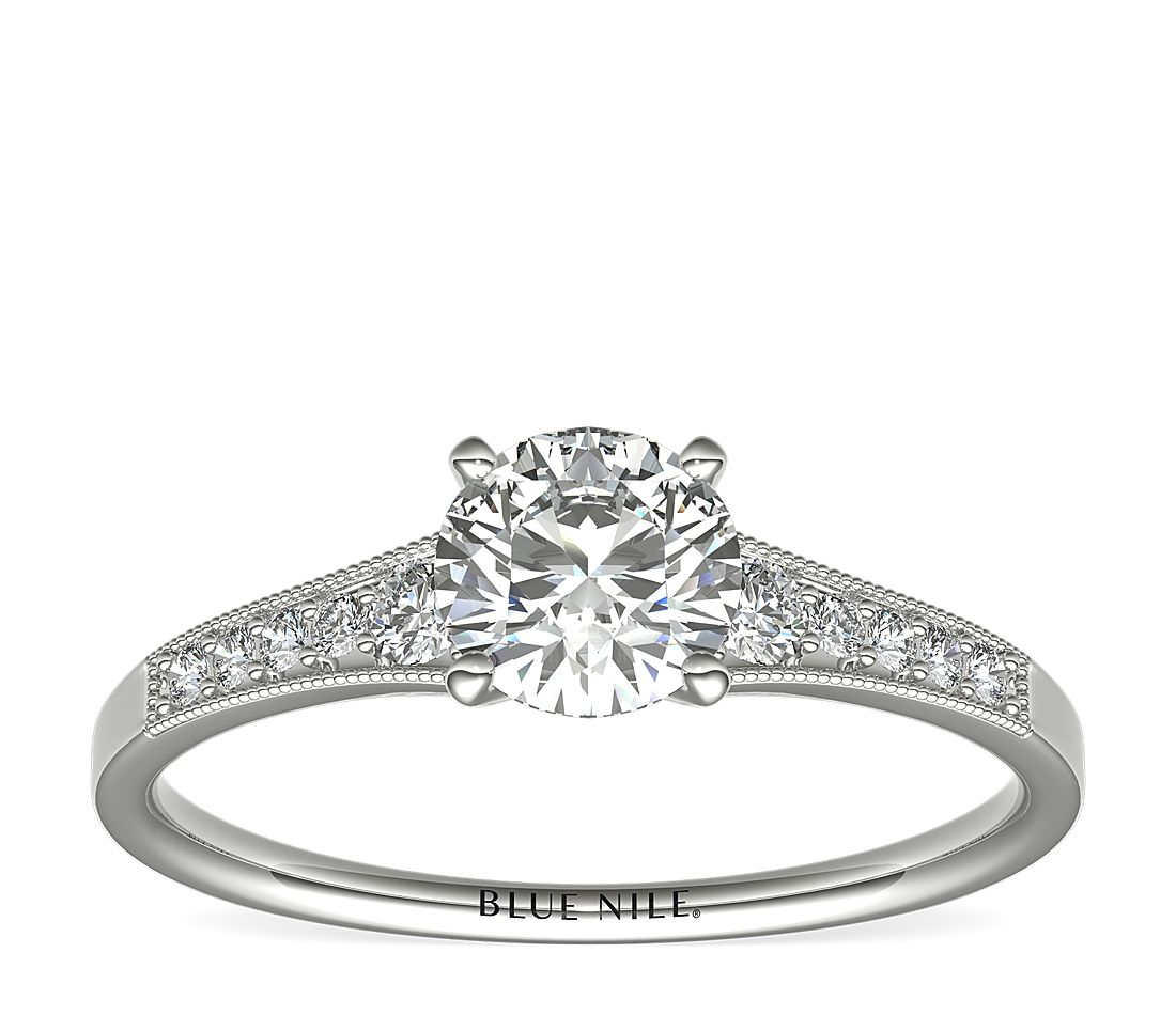 3/4 Carat Ready-to-Ship Graduated Milgrain Diamond Engagement Ring in 14k White Gold