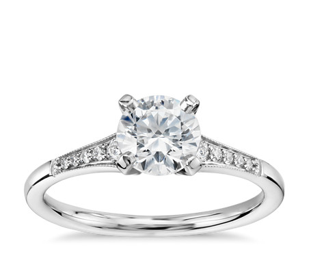 3/4 Carat Preset Graduated Milgrain Diamond Engagement Ring in 14k White Gold